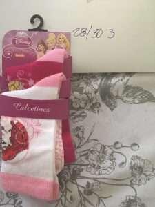 calcetas disney princesa ariel aurora rosa blanco frambuesa 2p