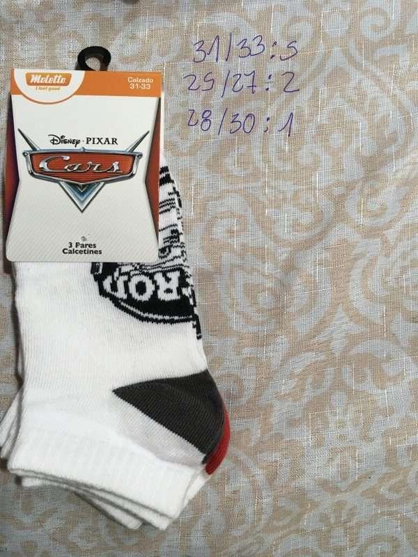 calcetín Disney cars rayo Mcqueen corto blanco negro rojo 3p