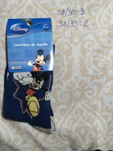 calcetín disney mickey diseño fight azul gris 1 par