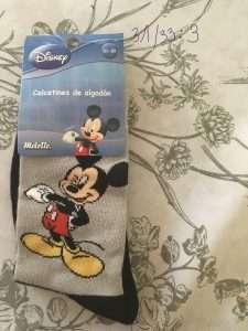 calcetín disney mickey gris negro 1 par