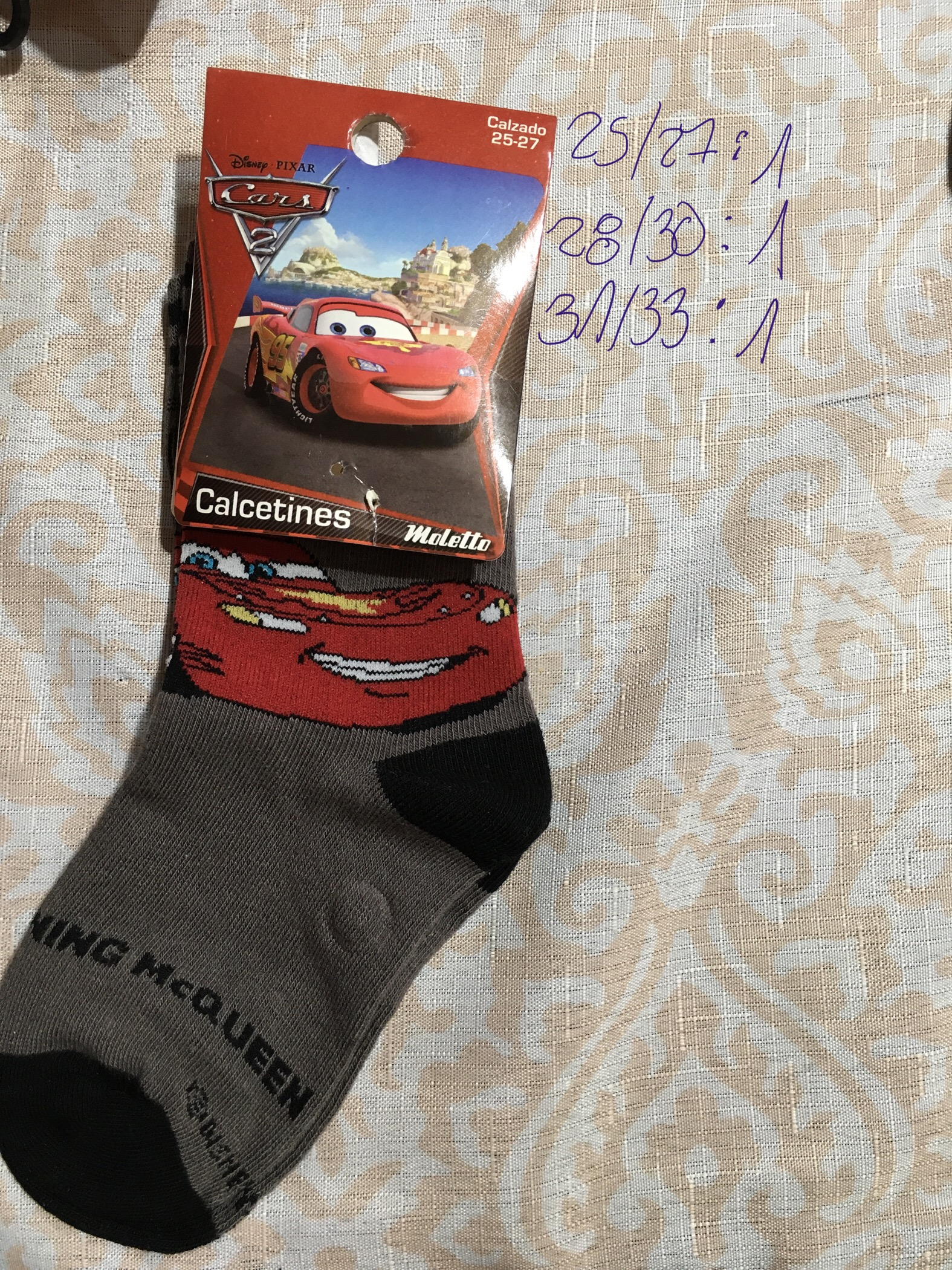 calcetin disney cars diseño king Mcqueen 1 par gris negro