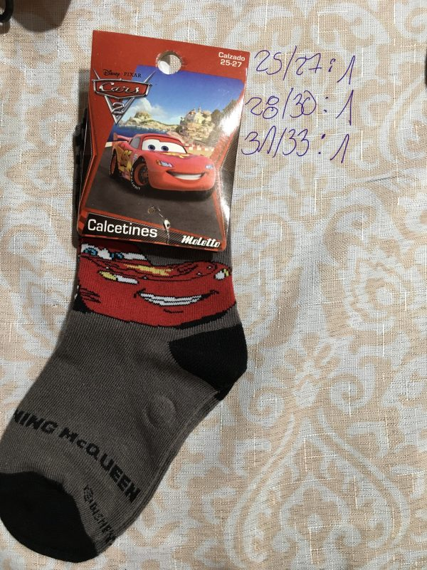 calcetin Disney cars diseño King McQueen gris negro