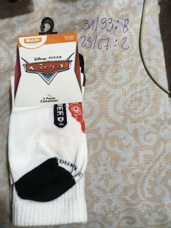 calcetín disney cars speed blanco negro largo